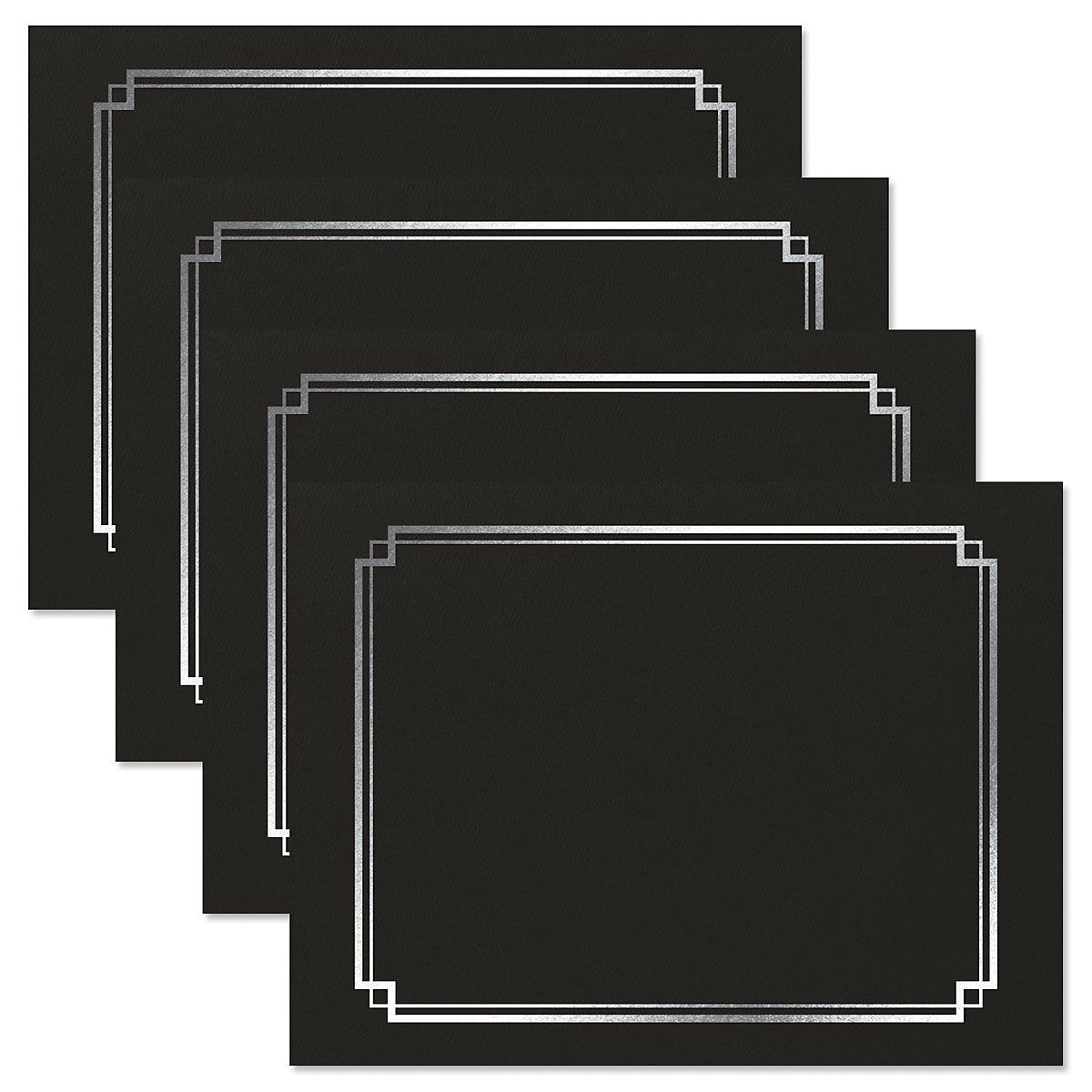 Classic Black Certificate Folder with Silver Border - Set of 50