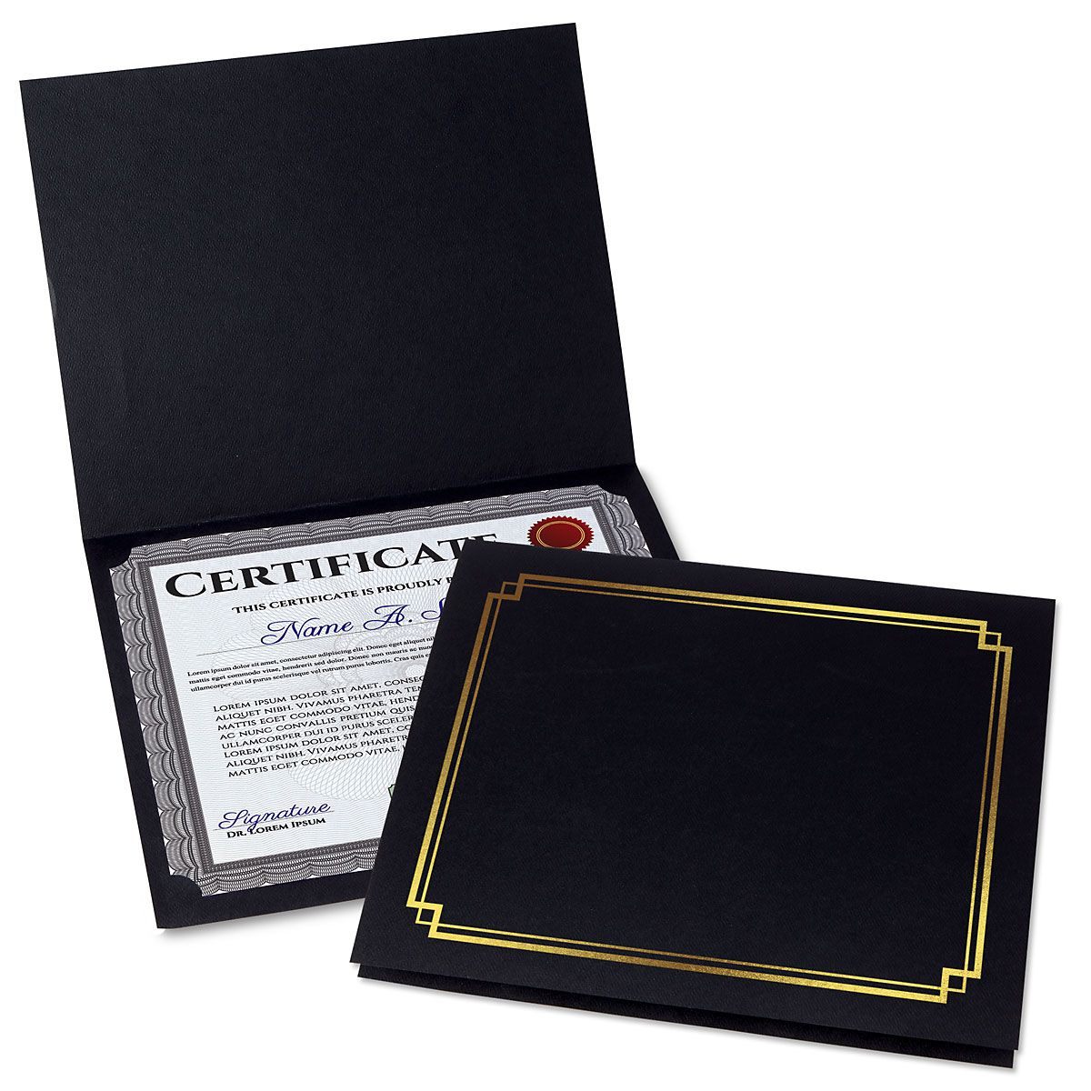Classic Black Certificate Folder with Gold Border - Set of 50