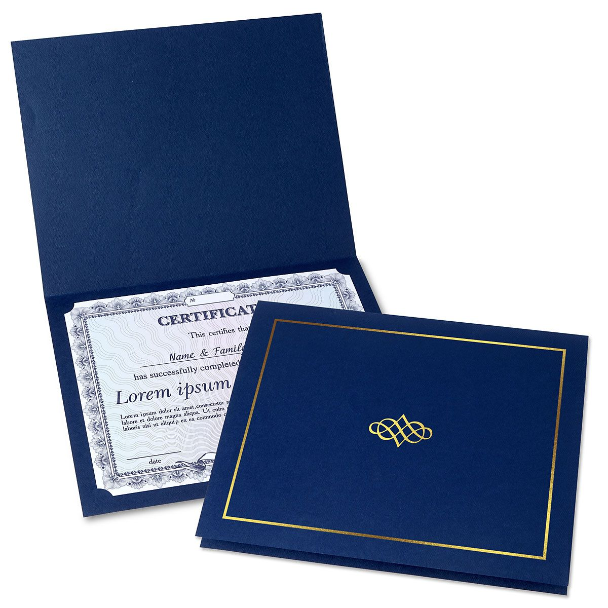Ornate Blue Certificate Folder with Gold Border/Crest - Set of 50
