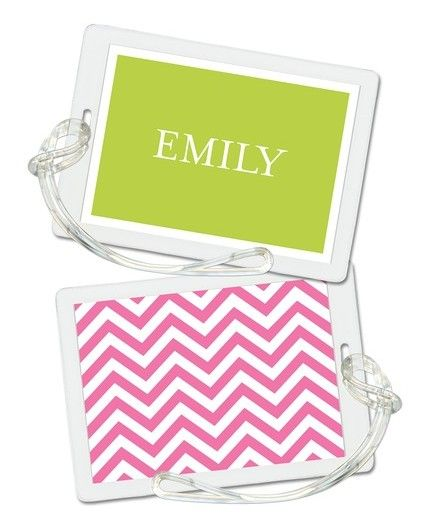 Pink Chevron Luggage Tag