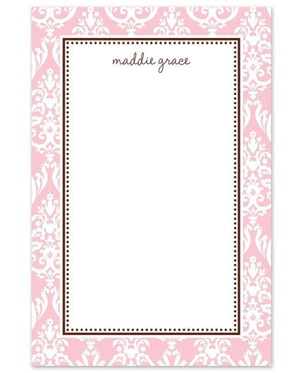 Pink Damask Note Pad