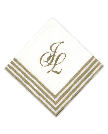 Gold Stripe Cocktail Napkin