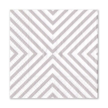 Grey Chevron Cocktail Napkin
