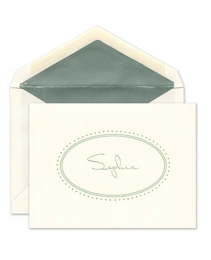 Ecru Oval Note Card