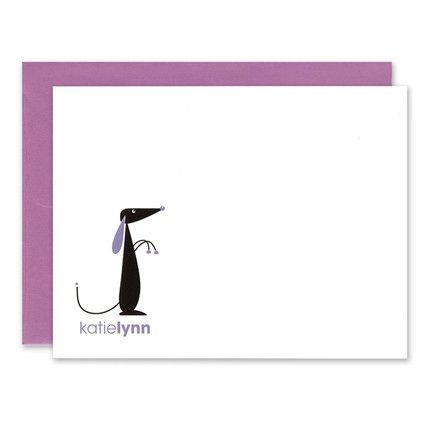 Purple Playful Pup Note Card