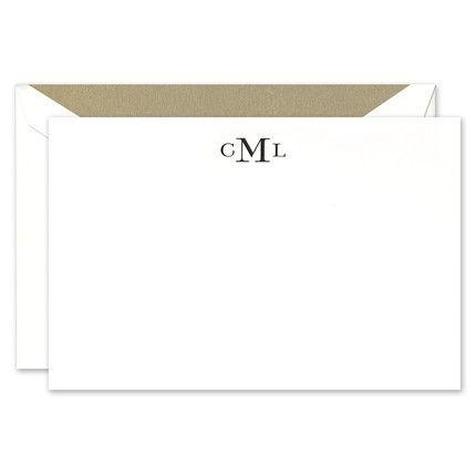 Classic White Monogram Flat Card