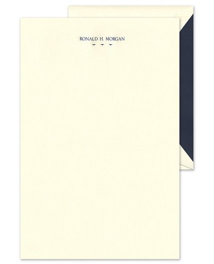Classic Ecru Letterhead FEATURES & DESCRIPTION Ecru Envelopes Included Very Light Paper Weight Printed Return Address - Additional Charge Flat Size: 9  x 6  (H x W) Font(s) Shown: 509 Font Color(s) Shown: Regent Blue Liner Shown: Navy Blue LIN131A This ecru letter sheet can be personalized with your name, business name, or personal and professional contact information. Shown with optional motif MOT769A.PLEASE NOTE: Thermography printing is not recommended for use in laser printers.