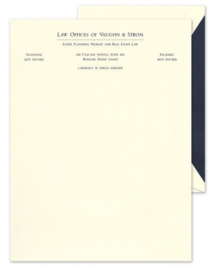 Classic Dots Ecru Letterhead FEATURES & DESCRIPTION Ecru Envelopes Included 1 Font Color Very Light Paper Weight Printed Return Address - Additional Charge Flat Size: 8.5  x 6.375  (H x W) Font(s) Shown: 509 Font Color(s) Shown: Navy Blue Liner Shown: Navy Blue LIN131A This ecru letter sheet can be personalized with your name, business name, or personal and professional contact information. Each sheet features a line of navy blue dots to add to its classic, professional look.PLEASE NOTE: Thermography printing is not recommended for use in laser printers.