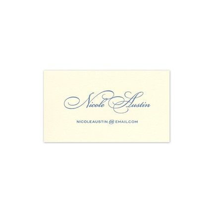 Elegant Ecru Calling Card FEATURES & DESCRIPTION Medium Paper Weight Flat Size: 2  x 3.5  (H x W) Font(s) Shown: 606S, 704W Font Color(s) Shown: Newport Blue This ecru calling card can be personalized with your contact information, a monogram or the motif of your choice.