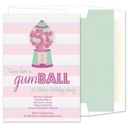 Glitter Gumball Invitation