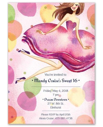 Jumping Girl Invitation