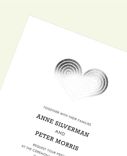 Silver Deco Heart Invitation