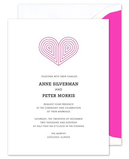 Pink Deco Heart Invitation