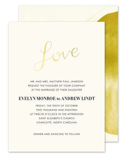 Gold Love Invitation
