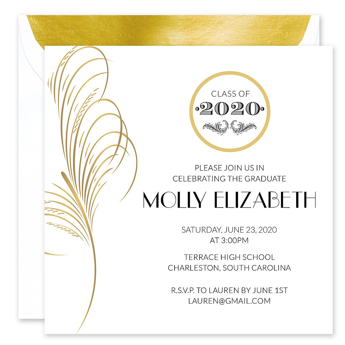 Gold Feather Invitation