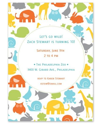 Colorful Animals Invitation