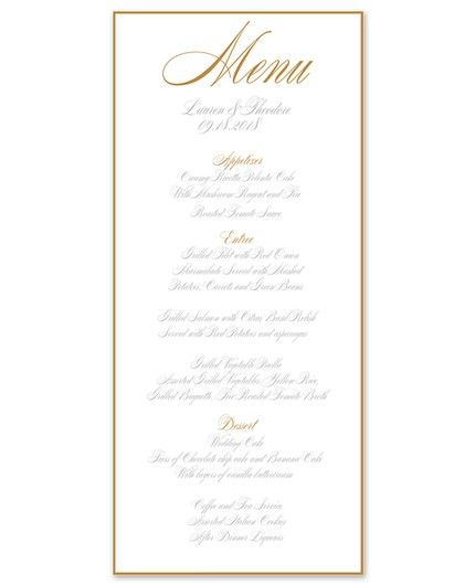Gold Border Menu Card