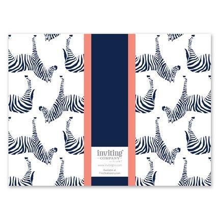 Navy Zebra Note Card