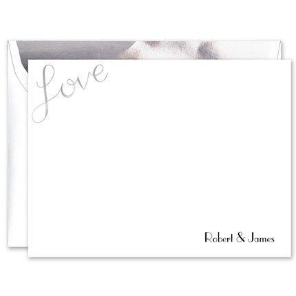 Silver Foil Love Flat Card