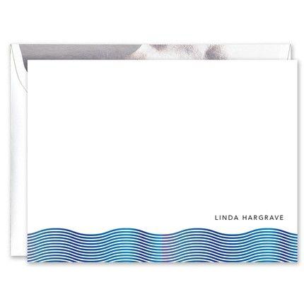 Blue Foil Wave Flat Card