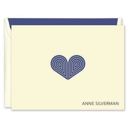 Navy Deco Heart Note Card