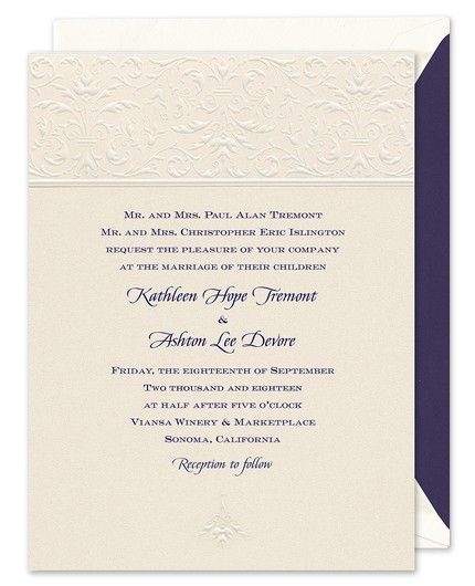 Damask Band Invitation