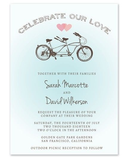 Tandem Bicycle Invitation