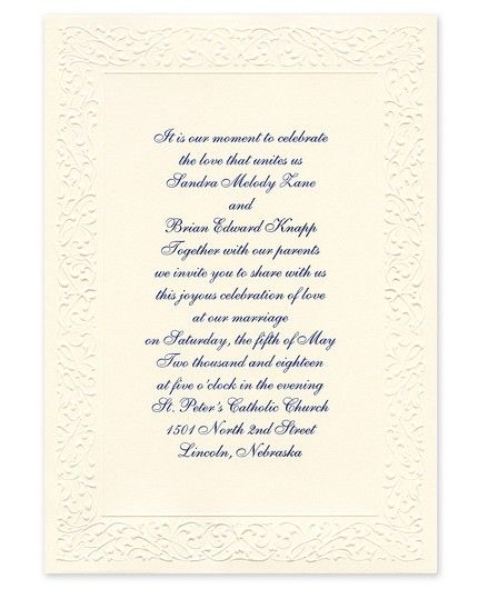 Ornate Ecru Invitation