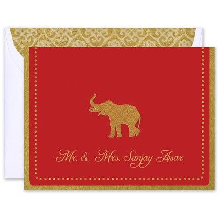 Gold Elephant Note Card
