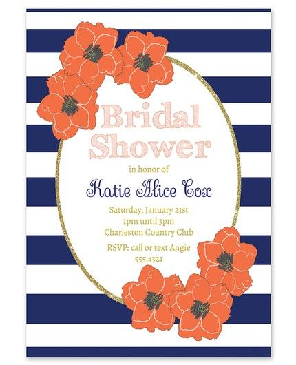 Navy & Coral Invitation