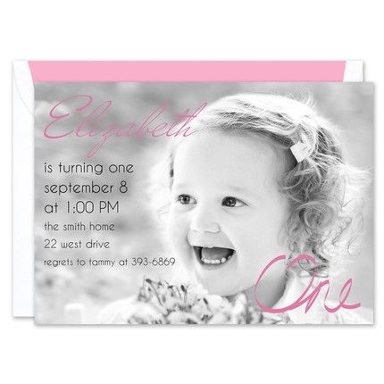 Pink One Photo Invitation