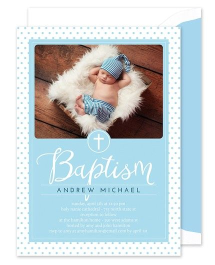 Blue Dots Photo Invitation