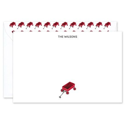 Little Red Wagon Flat Card