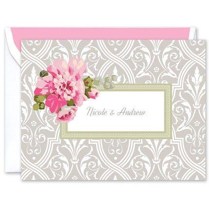 Damask Floral Note Card