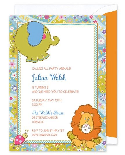 Zoo Animals Invitation
