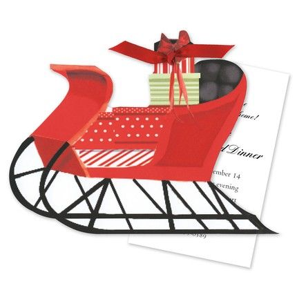 Red Sleigh Invitation