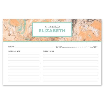 Teal & Orange Recipe Card