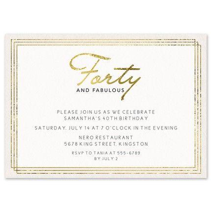 40 & Fabulous Invitation