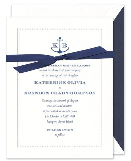 Navy Bead Invitation