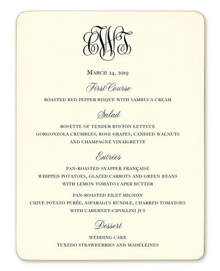 Gilt-Edge Menu Card