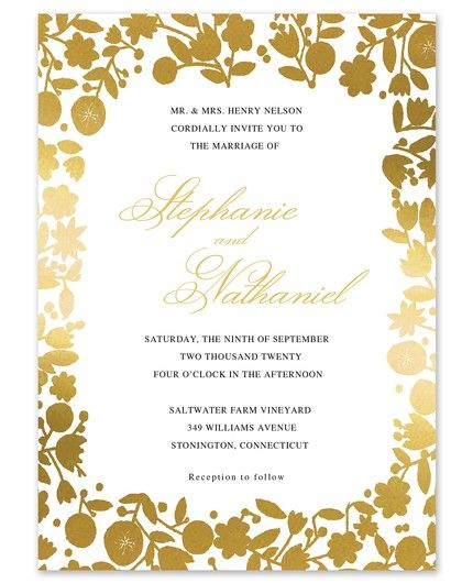 Gold Floral Invitation
