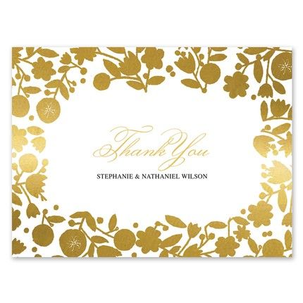 Gold Floral Note Card