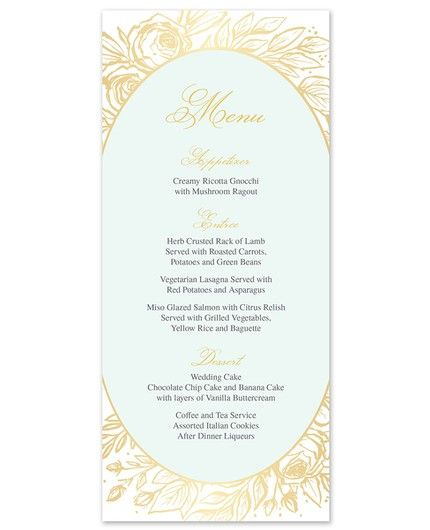 Antique Floral Menu Card