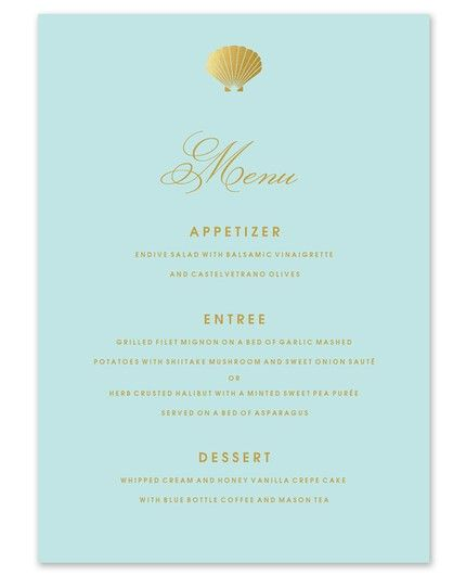 Stylish Shell Menu Card