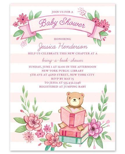 Pink Book Shower Invitation