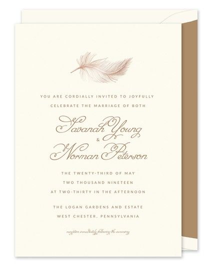 Rose Gold Feather Invitation