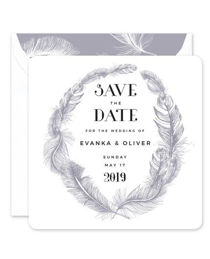 Grey Feather Save the Date