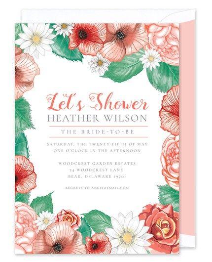 Peach Floral Invitation