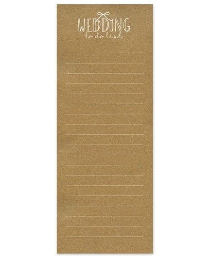 Wedding To Do Note Pad