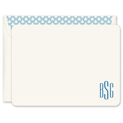 Ecru Monogram Flat Note Card